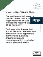 Tom Benson Letter to Renee, Rita and Ryan LeBlanc
