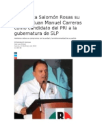 22/01/2015 Salomón Rosas apoya a Juan Manuel Carreras como candidato del PRI a la gubernatura de SLP
