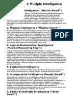 9 Multiple Inteligence (Values)