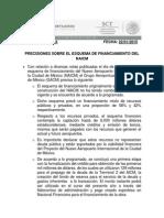 Comunicado PRECISIONES SOBRE EL ESQUEMA DE FINANCIAMIENTO DEL NAICM
