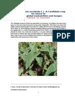 Taro (Colocasia esculenta L.) –A Candidate crop for future to alleviate   global malnutrition and hunger.