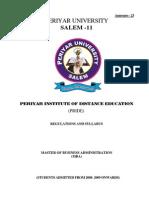 PRIDE University DDE MBA Syllabus