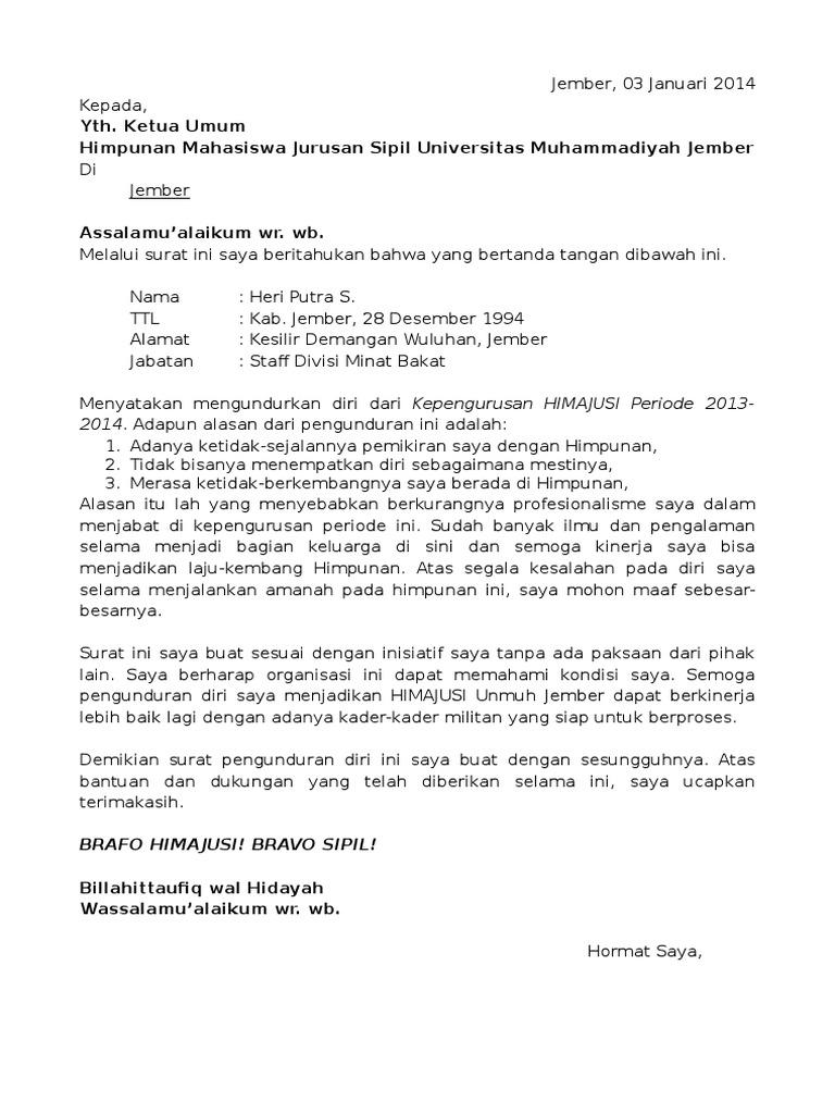 Contoh Surat Pengunduran Diri Dari Jabatan Organisasi