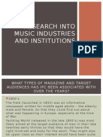 Research Into Music Industries and Institutions