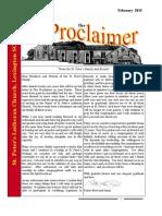 February 2015 Proclaimer Newsletter