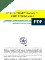 KPSC Gazetted Probationer's Exam Syllabus 2015 | Download Syllabus Pdf