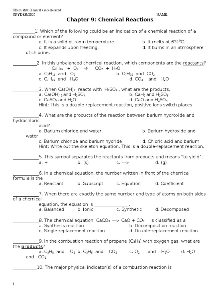 Chemical Reactions And Equations Worksheet - andrewgarfieldsource