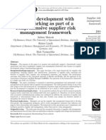 Supplier Development With Benchmarking as Part of a Comprehensive Supplier Risk Management Framework