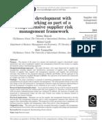 Supplier Development With Benchmarking as Part of a Comprehensive Supplier Risk Management Framework