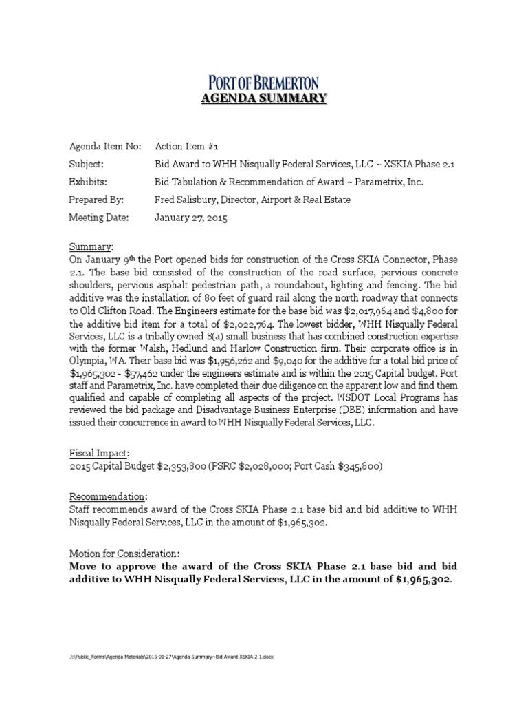 Agenda Summary Road Transport Transport