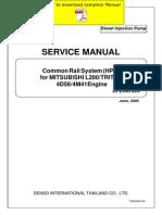 DENSO Common Rail Mitsubishi L200 Triton 4D56 4M41 Service Manual Pages