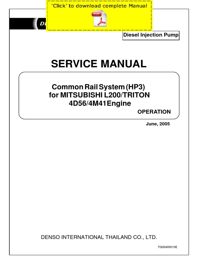 denso common rail mitsubishi l200 triton 4d56 4m41 service manual rh es scribd com mitsubishi l200 4d56 workshop manual mitsubishi pajero 4d56 service manual