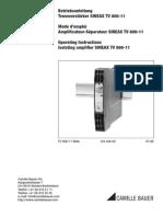 Mode d'emploi Amplificateur-Séparateur SINEAX TV 808-11