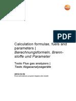 Calc.formul.fuels&Parameters Testo f.gas Analyzers