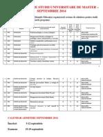 Anunt Admitere Master Sesiune Septembrie 2014 Fpse