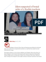 Burmese Soldiers Suspected of Brutal Rape and Murder of 2 Kachin Teachers