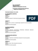 Programación Semanal de Las Clases 2014-2