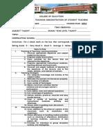 Rating Sheet for Demo Teaching