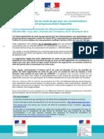 2eme Courrier officiel d'information sur la fin des tarifs réglementés du gaz et liste des fournisseurs