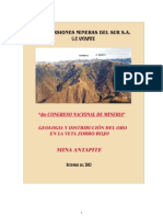 Geologia y Distribucion Del Oro en La Veta Zorro Rojo Mina Antapite