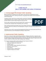 Belajar Public Speaking Otodidak
