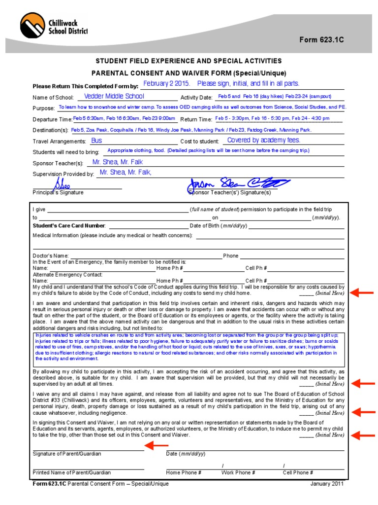 Winter Camping Snowshoeing Consent Form 2015