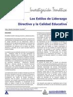 Los Estilos de Liderazgo Directivo y La Calidad Educativa