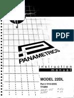 Panametrics 22DL Ultrasonic Thickness Gauge Manual