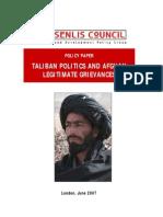 Taliban Politics and Afghan Legitimate Grievances (Senilis Council document)