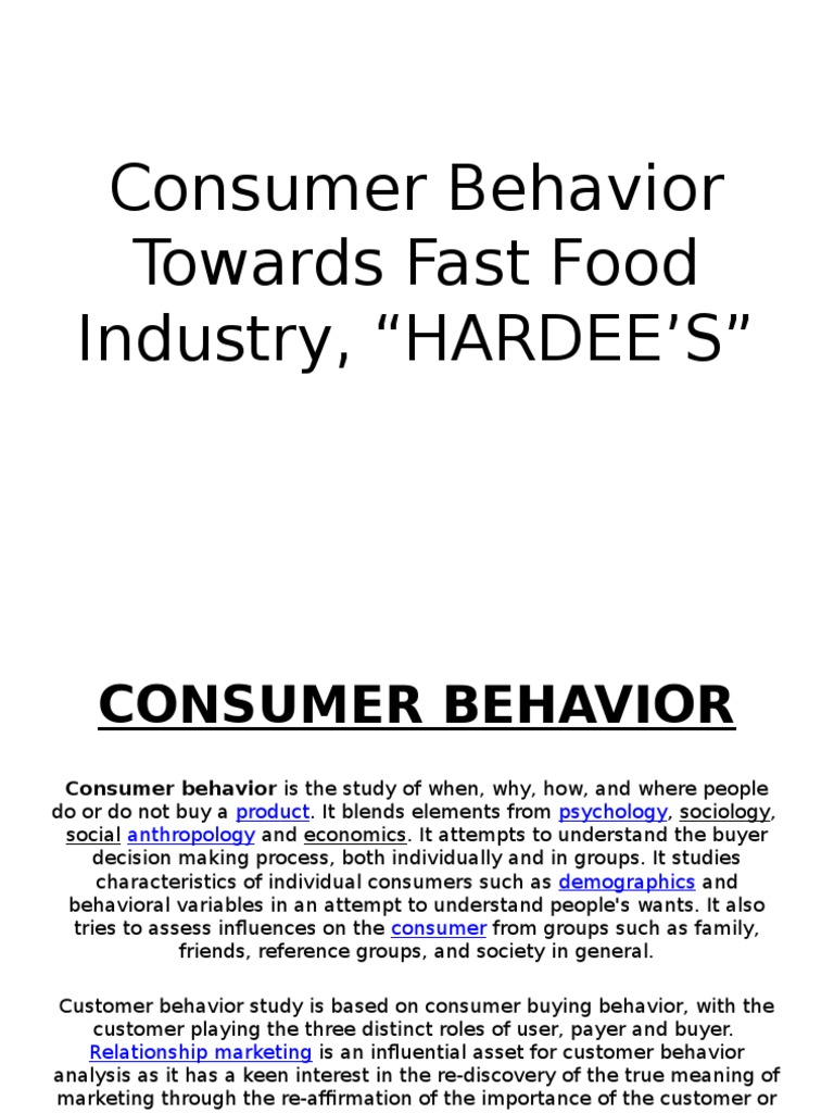 Hardees | Consumer Behaviour | Fast Food