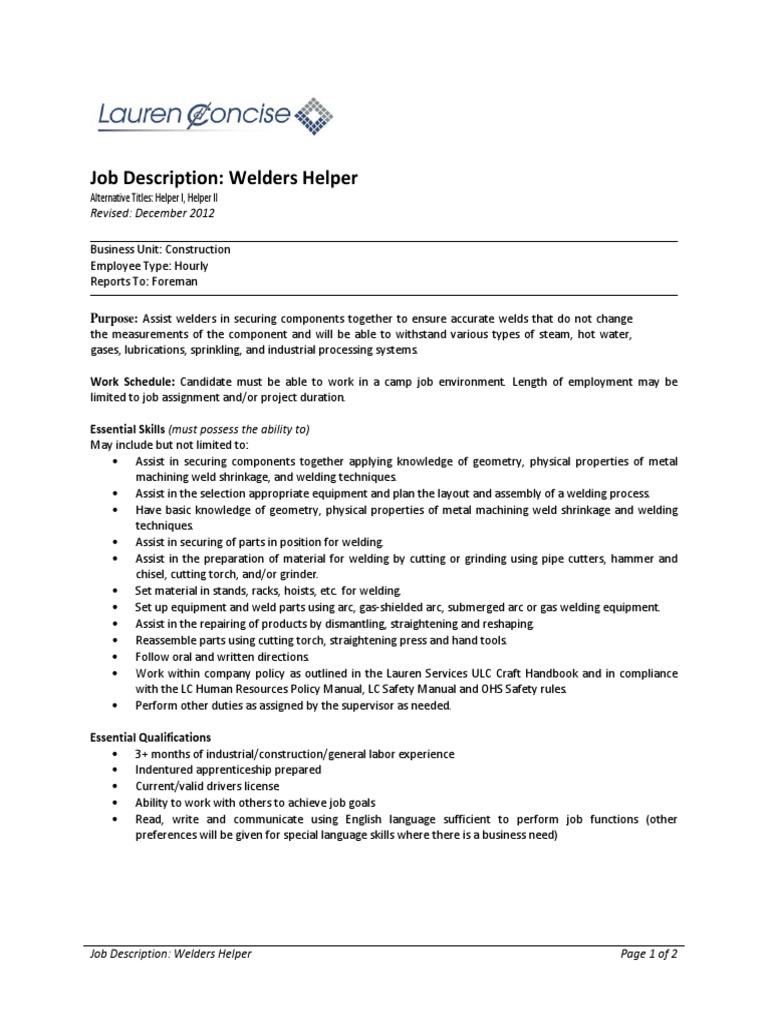 Welders Helper Welding Employment