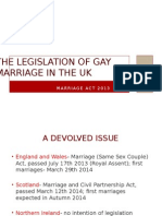 The Legislation of Gay Marriage in the Uk