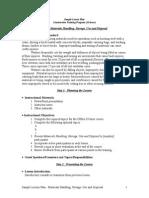 Sample Lesson Plan Mtl Handling Storage Use and Disposal