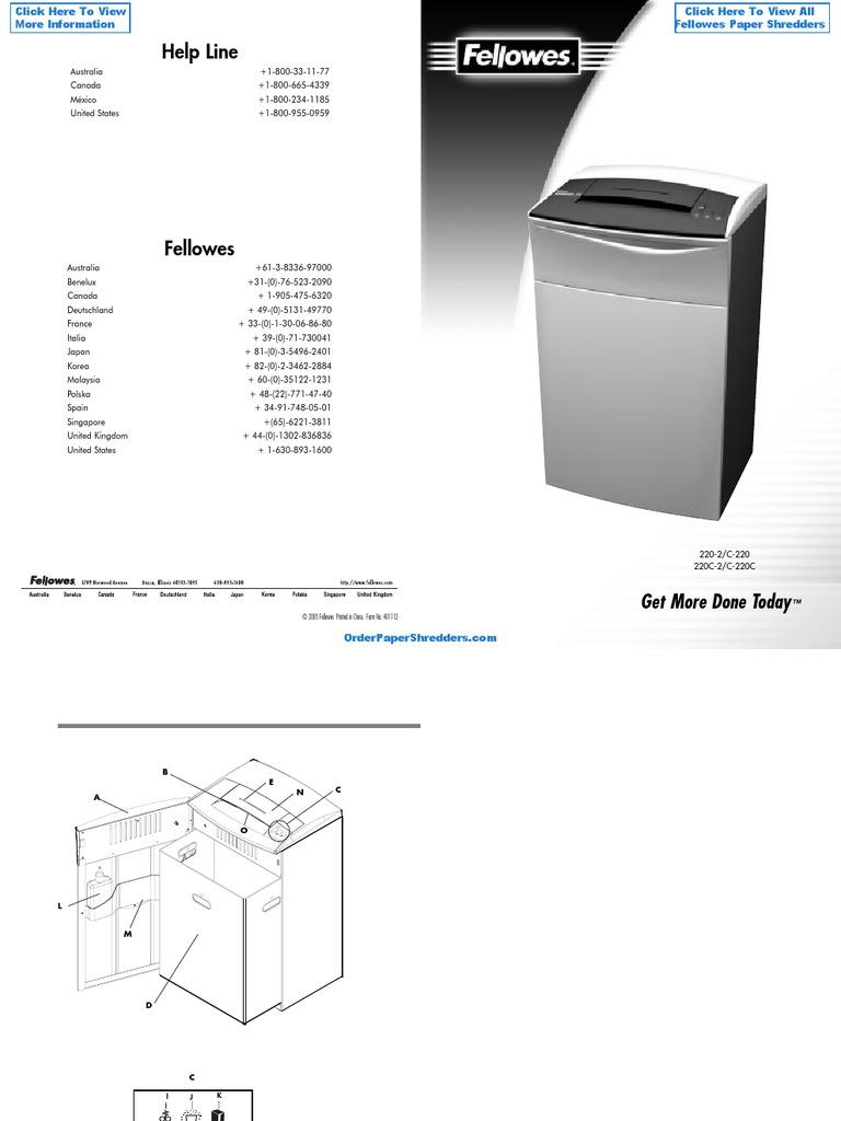 fellowes powershred c 220 commercial paper shredder fel38221 rh scribd com Mercedes-Benz C220 CDI 220C Bike