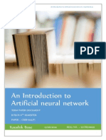 An Introduction Artificial Neural Network
