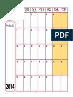 Calendário PDF 2014 Sem Feriados