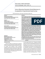 Socio-demographic factors influencing Preventive Dental Behaviours in an Adult Dentate population