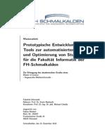 Prototypische Entwicklung eines Tools zur automatisierten Erstellung und Optimierung von Stundenplänen für die Fakultät Informatik der FH-Schmalkalden
