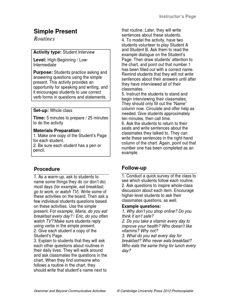 Communicative Activity Simple Present   Question   Interview