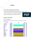 21 Colour Names