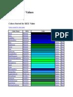 22 Colour Values