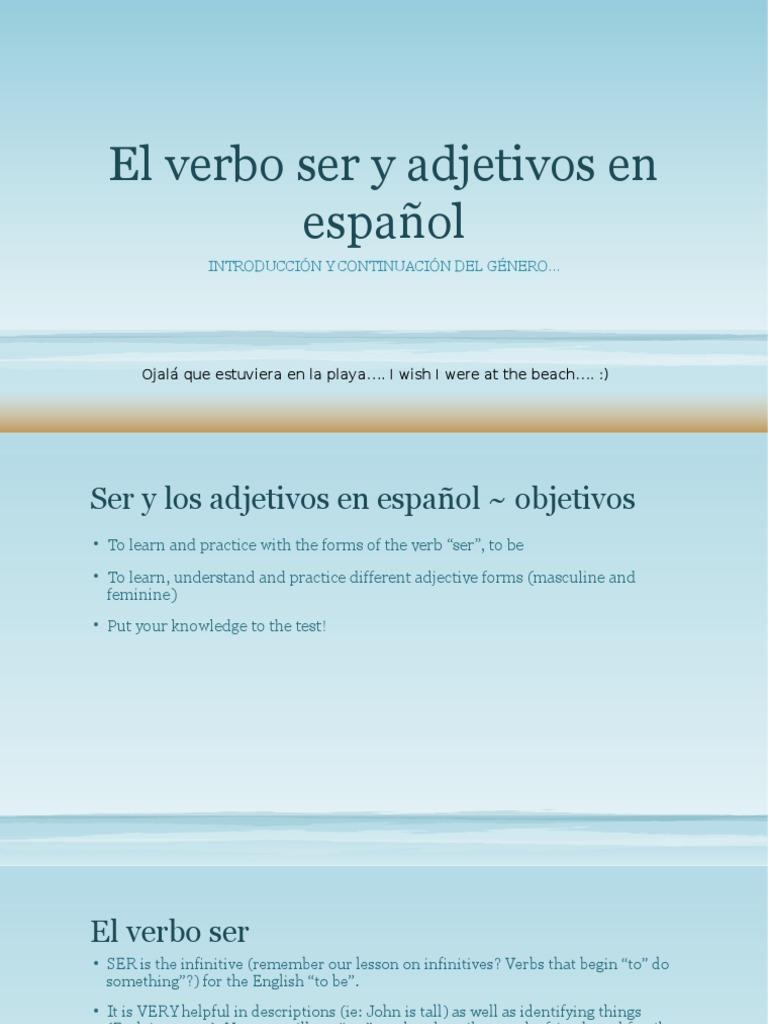 E1 El Verbo Ser Y Adjetivos En Espaol 1b Grammatical Gender Noun