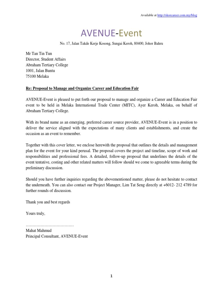 Sample of Proposal Plan Event Press Release – Sample Event Proposal Letter