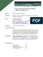 Spring 2010 Advanced Selling Syllabus
