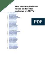 Datasheets de Componentes Comunes en Fuentes Conmutadas y LCD TV