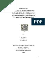 Analisis Praktik Akuntansi Manajemen Pada Perusahaan Manufaktur Studi Empiris Di Kawasan Industri Batam
