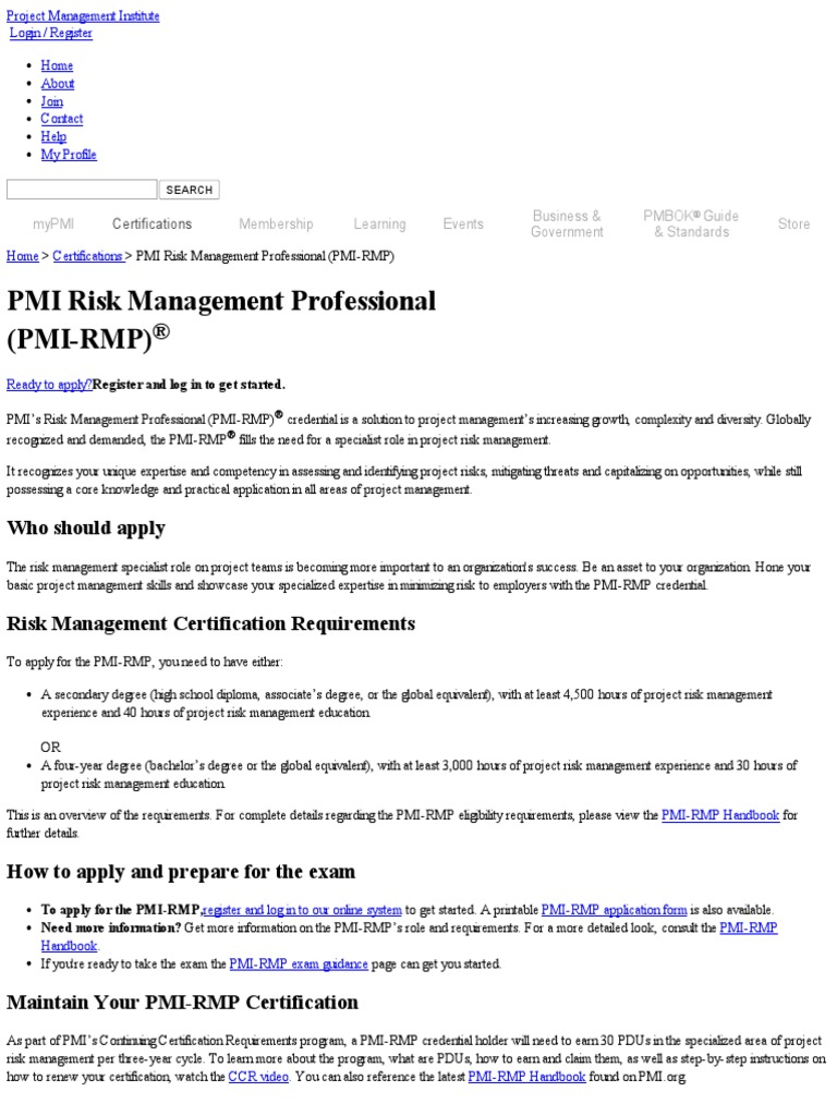 Pmi Risk Management Professional Certification Pmi Rmp Risk