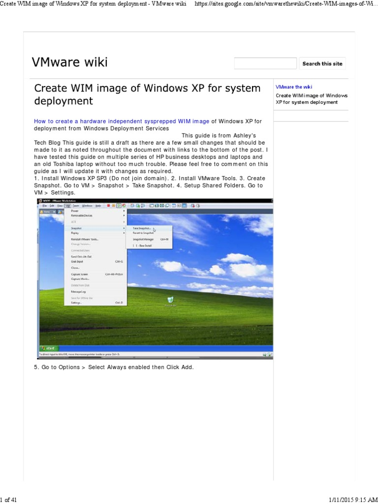 Create WIM image of Windows XP for system deployment