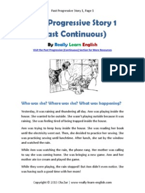past-progressive-story-1 pdf | Question | Grammar