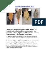 Las 10 Tendencias de Moda de 2015